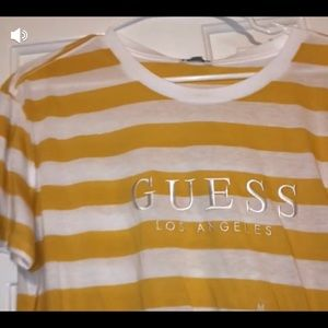 Guess White and Yellow Stripped Tshirt